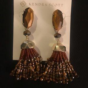 KENDRA SCOTT GOLD/BROWN TIGERS EYE Earrings - new